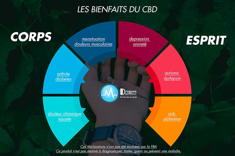 infographie sur les bienfaits du cbd
