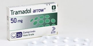 Boite de medicament Tramadol des laboratoires Arrow - Photo by Gouhoury/ANDBZ/ABACAPRESS.COM - medicaments; sante; boite de medicament; medical; medicinal; prescription; plan serre; packshot; Tramadol; laboratoires Arrow; Medecine; Medicament; Medicaments; Sante; Soins; Europe; Europe de l'Ouest; Western Europe; France EU European Union Europe UE Union Europeenne Medicaments Medicament Medicaments Medicament Sante France Frankreich | BRAND20180914_362 France